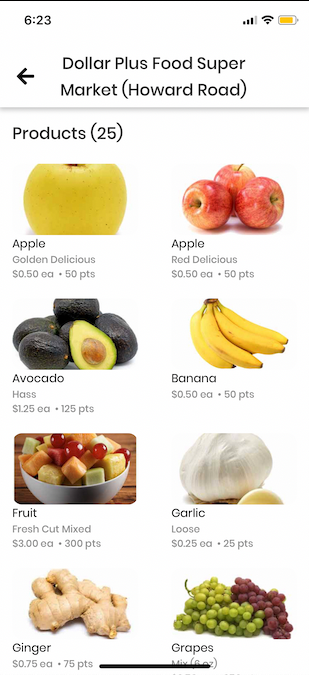 Customer App: a store's product list